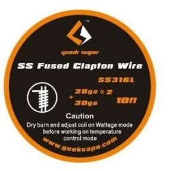Geekvape SS316 Fused Clapton Wire 10ft 28ga*2 +30ga
